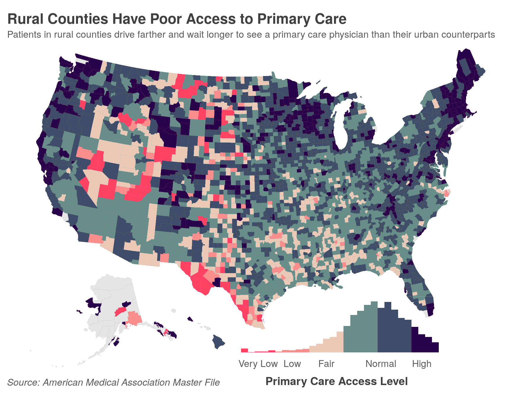 Rural counties have poor access to primary care